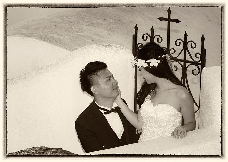 Vintage black and white Asian Pre Wedding Photo