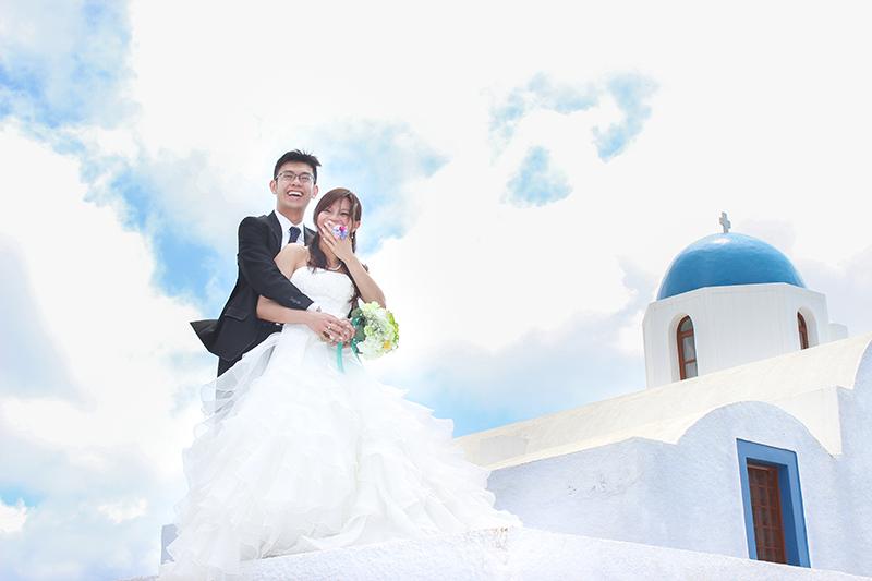 Hong Kong couple front blue domed church