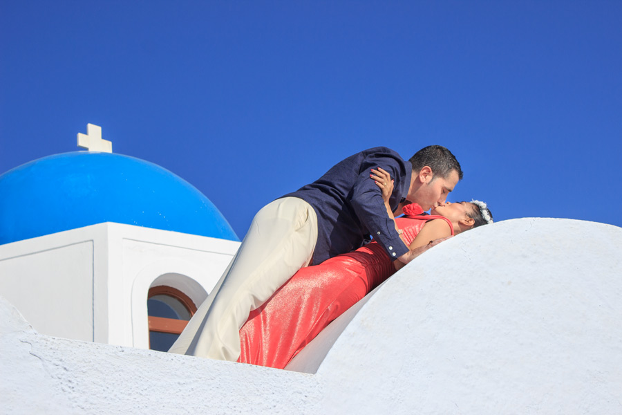 Romantic Picture in front of the blue domed church