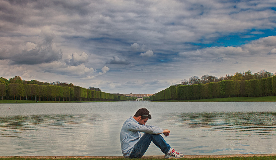 Versailles portrait picture by the lake,