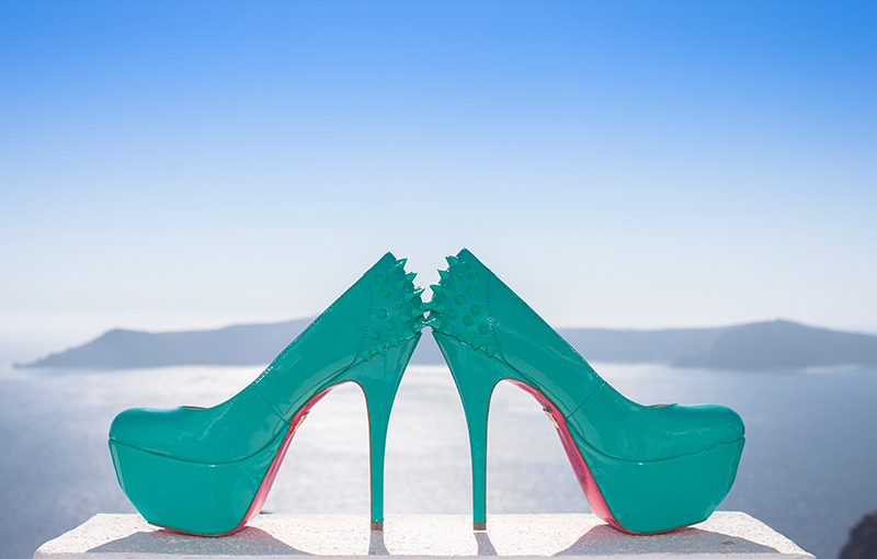 high hills wedding shoes with green color