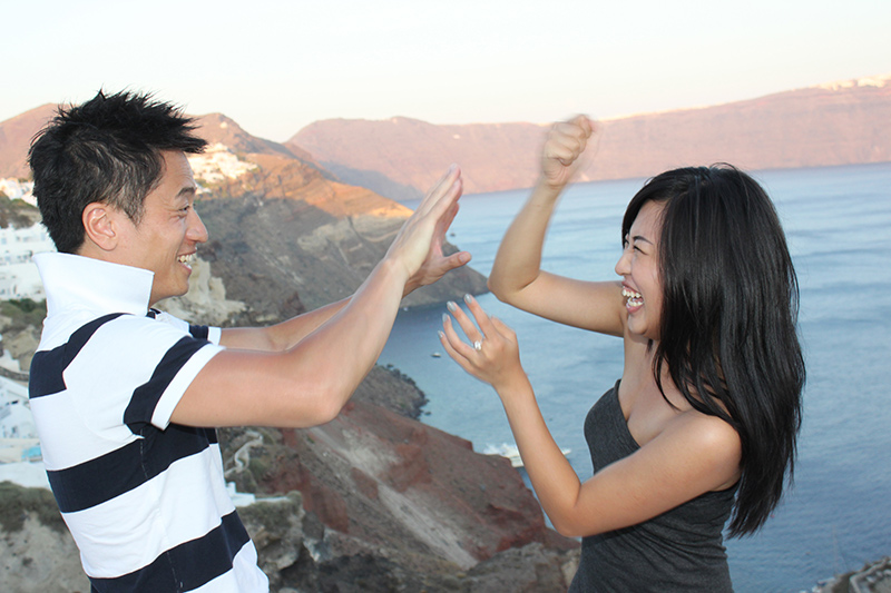 Couple fighting and smiling at the same time.