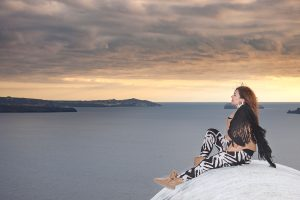 Santorini Solo Portrait Photography with glamour of the nature
