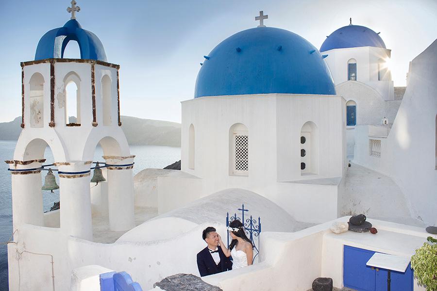 Blue Domed Church Wedding in Santorini
