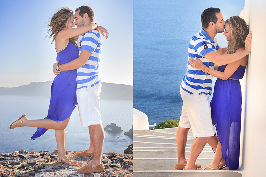 Engagement pictures with sea in the background in Santorini