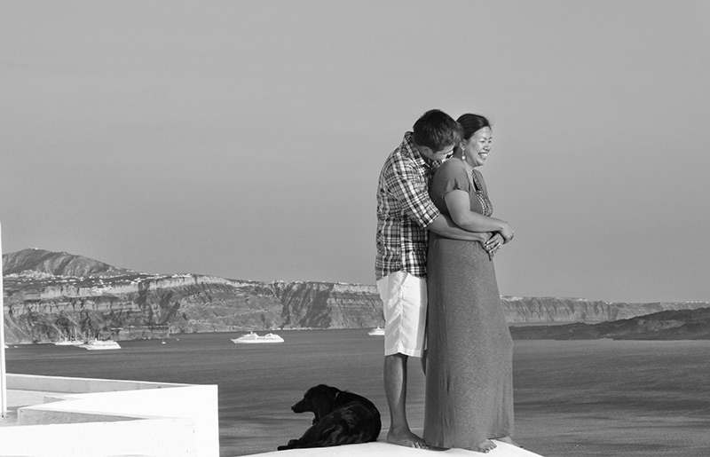 black & white romantic and fun picture with a dog