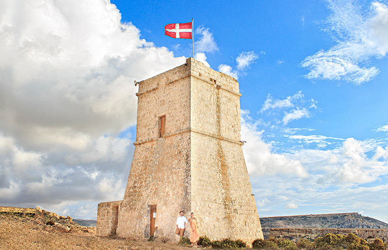 Malta Tower with flag at the top