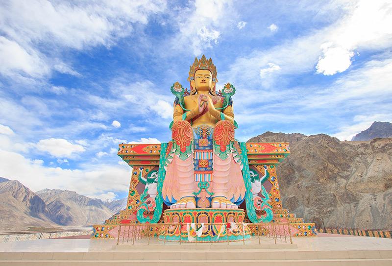 Jampa Buddha Statue in Diskit monastery Ladakh India