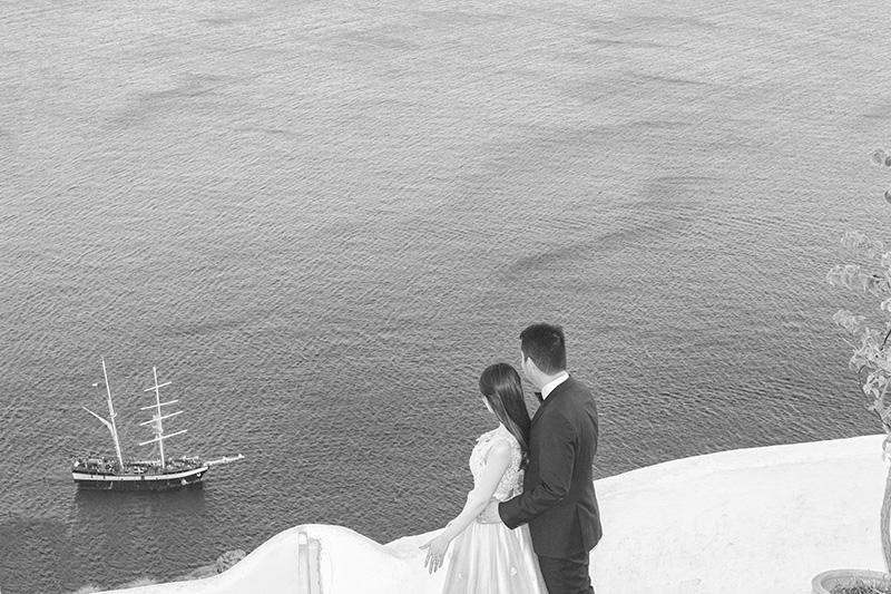 Oia black white picture sea traditional boat