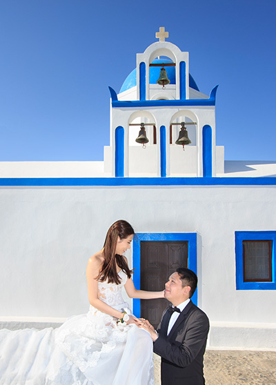 Wedding vows at blue domed traditional church