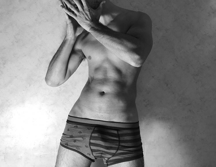sensual husband underwear picture black and white