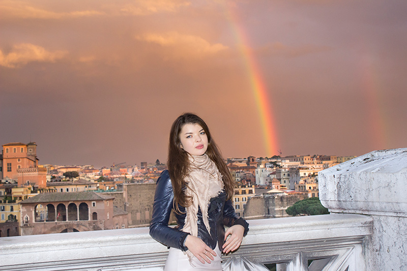 Rome Portrait Photographer with Rainbow