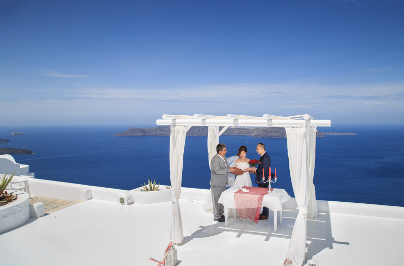 Ceremony at santorini andromeda villas venue wedding