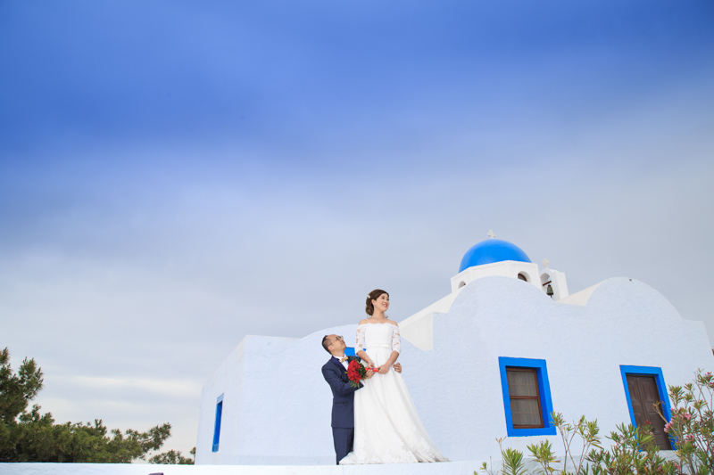 santorini blue domed church wedding