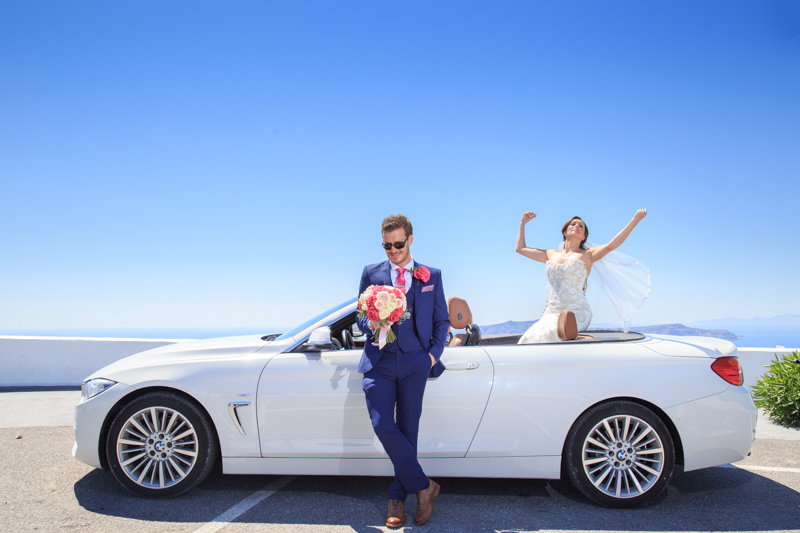 white color cabriolet BMW wedding idea