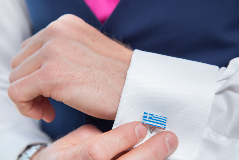 groom Greek Flag cufflinks