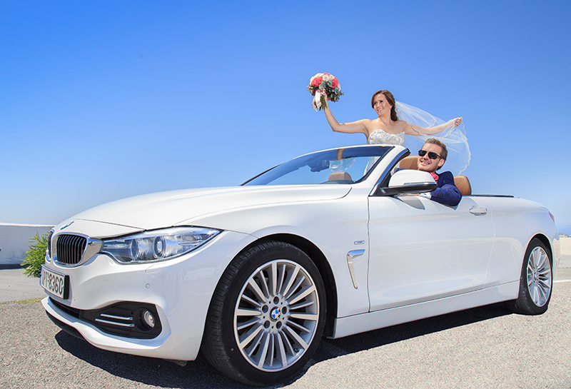 groom bride cabriolet bmw car