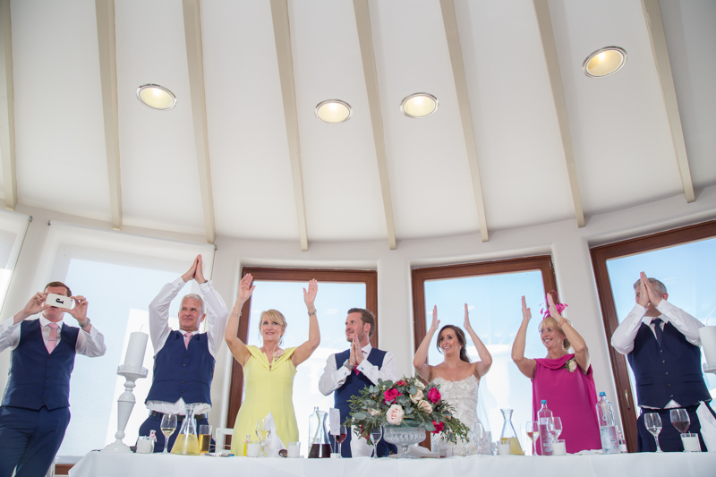 wedding party clapping