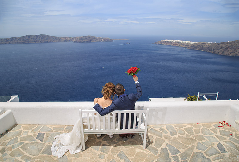 Wedding Ceremony in Imerovigli village in Santorini
