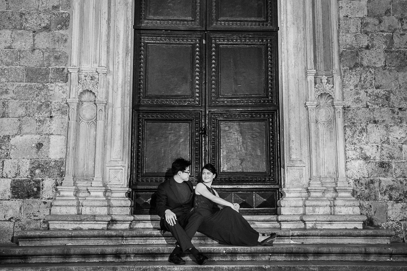 creative black white chinese couple shoot