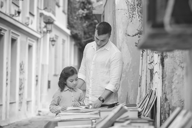 father daughter outdoor natural creative bw