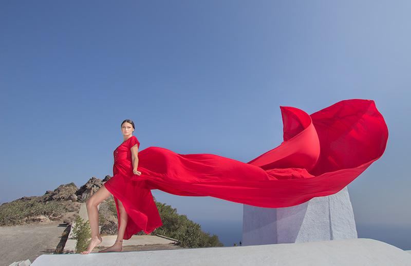 flying dress santorini
