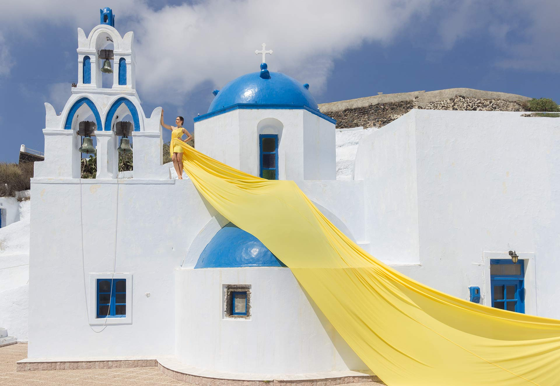 yellow color flying dress for rent in Santorini