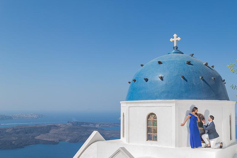 blue dome marriage proposal santorini
