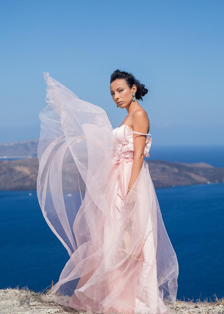 pink wedding gown rental santorini
