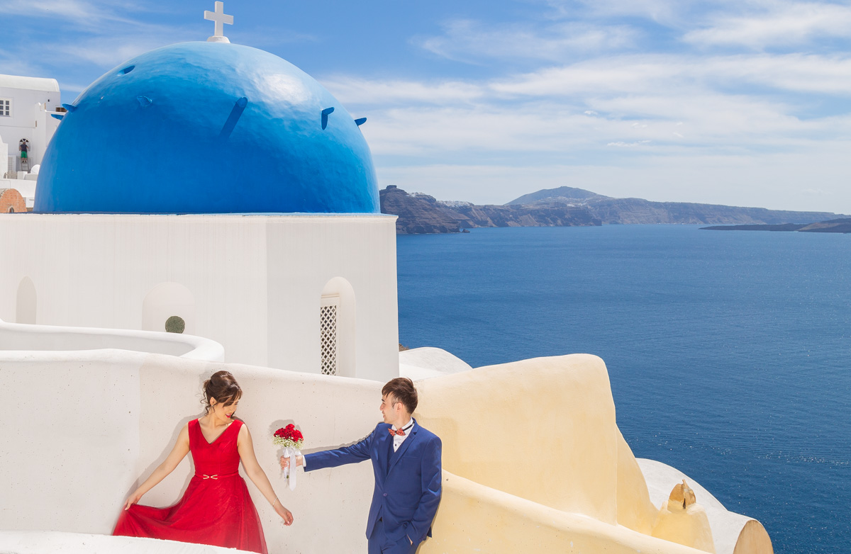 Chinese Couple Pre Wedding Photography in Santorini