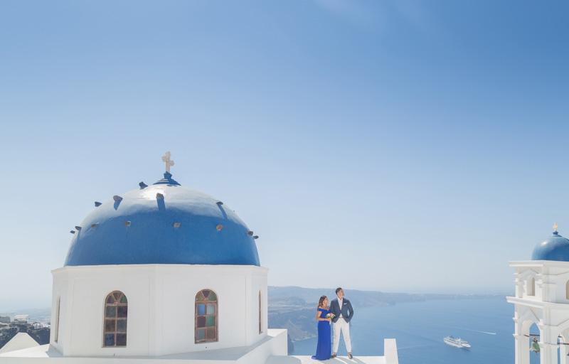 blue domed church photographer santorini