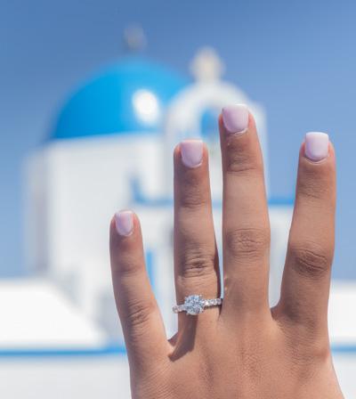 engagement proposal Santorini domes