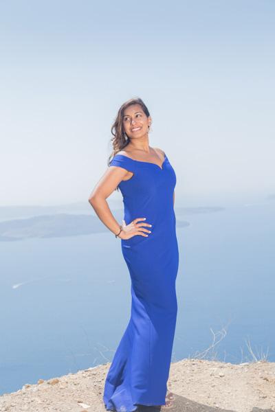 Indian lady girl Greece Santorini