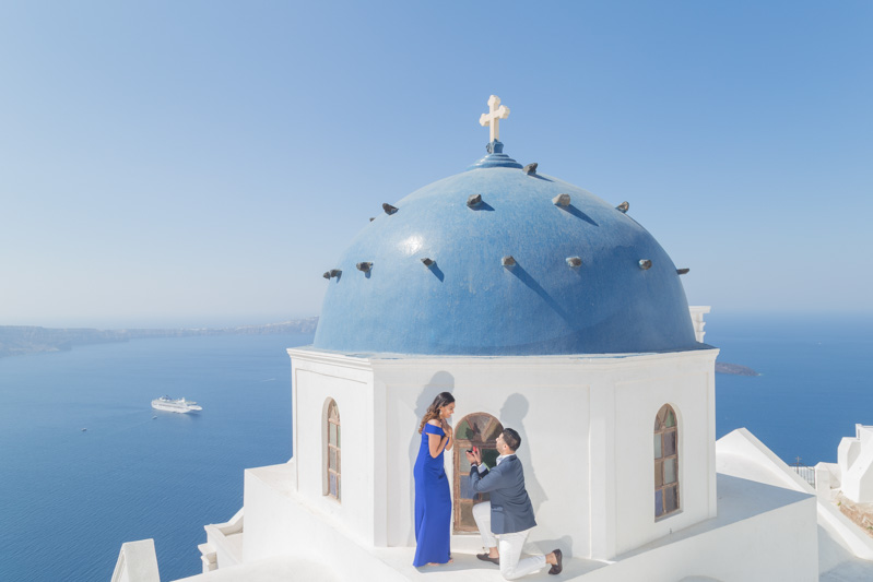 propose marriage rooftop santorini dome
