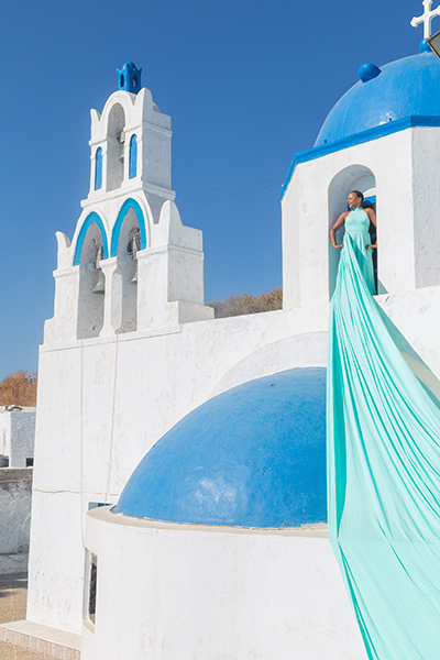 blue color dress greece