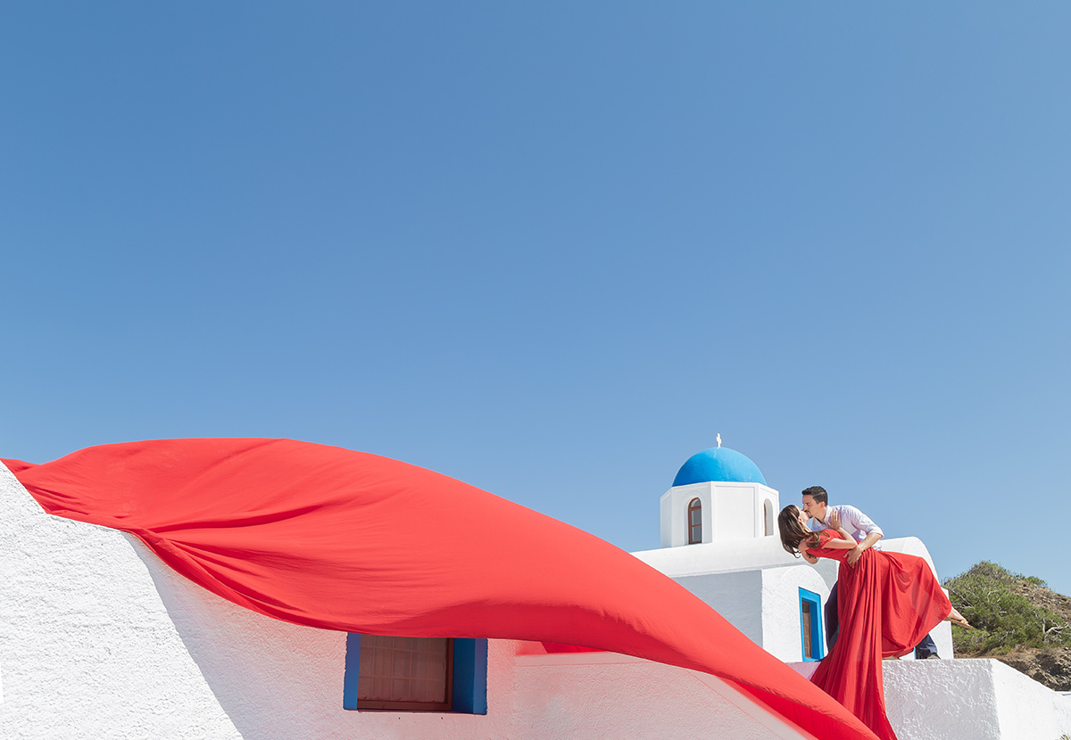 santorini flying dres photoshoot