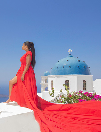 flying dress rental photo shoot santorini