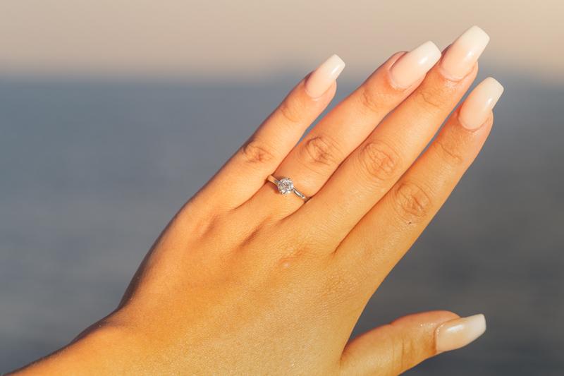 engagement ring sunset proposal