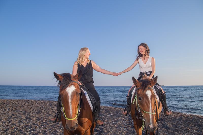 horse riding santorini gay couple
