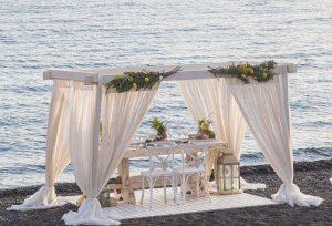 A Romantic Beach Proposal in Santorini