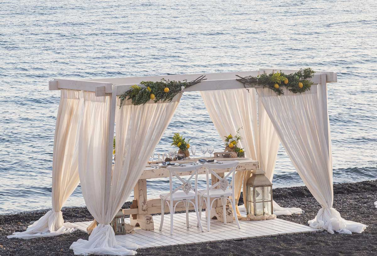 Romantic Beach Proposal Santorini