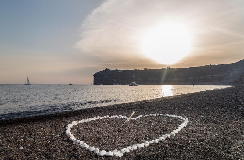 sunset beach proposal santorini