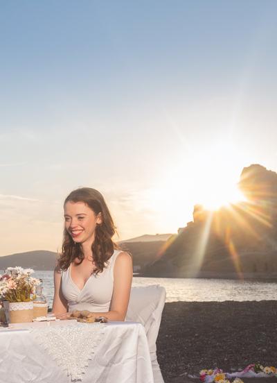 sunset dinner beach santorini