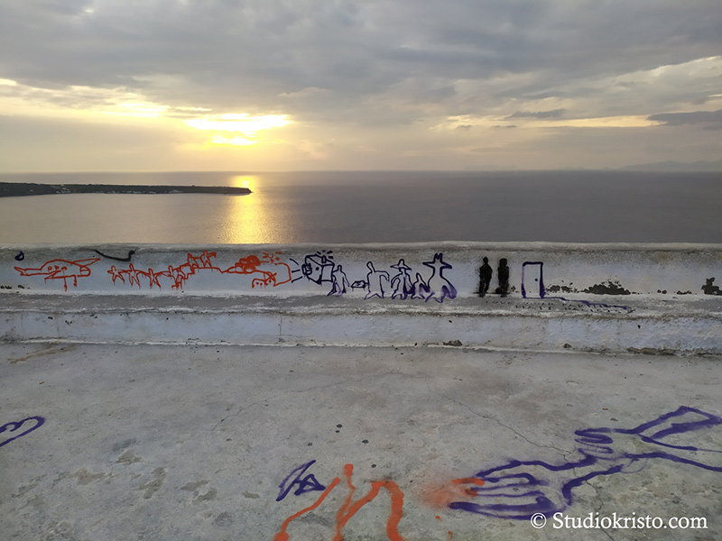 grafiti santorini sunset empty
