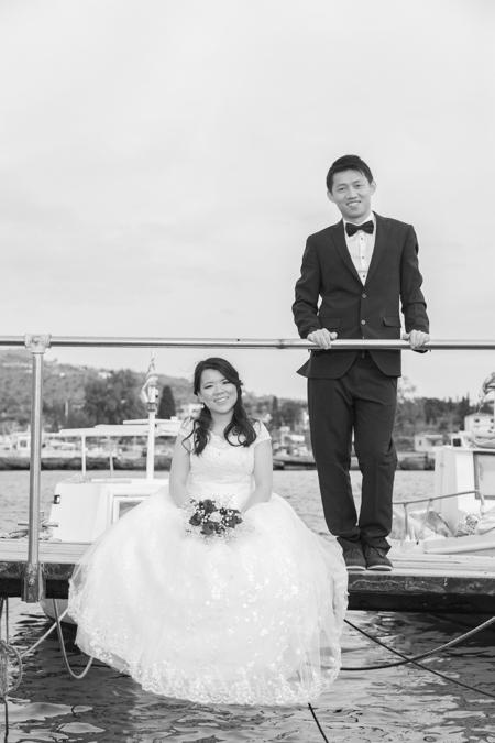 happy chinese couple greek island
